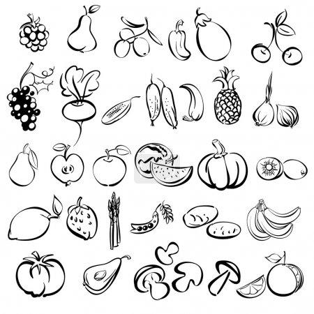 Illustration pour Fruits et légumes icône set croquis vectoriel illustration - image libre de droit