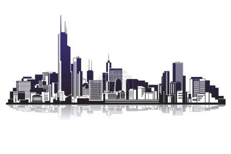 Illustration pour Silhouettes de ville icône d'illustration vectorielle - image libre de droit
