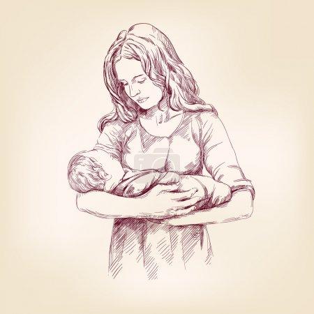 Foto de Bebé de Madonna mary tenencia Jesús dibujado a mano Ilustracion vectorial - Imagen libre de derechos