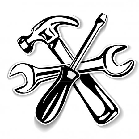 Illustration for Hammer and screwdriver , wrench icon. vector illustration - Royalty Free Image