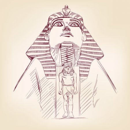 Tutankhamun Egyptian Pharaoh hand drawn llustratio...