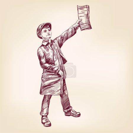 Illustration pour Paperboy vente nouvelles papiers main dessinée vector illustration réaliste esquisse - image libre de droit
