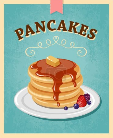 Vector illustration. Pancakes with chocolate....