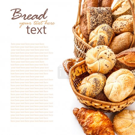 Photo for Composition with bread and rolls on white - Royalty Free Image