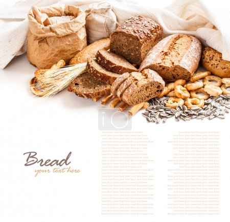 Photo for Different types of bread with space for text - Royalty Free Image