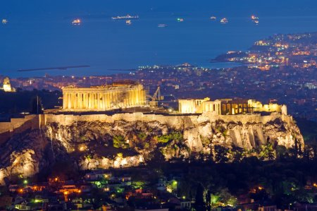 Photo for The Acropolis in Athens, Greece, at night - Royalty Free Image