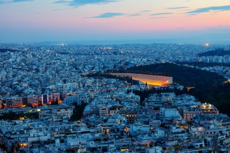 View over Athens at dawn with the old olympic stad...