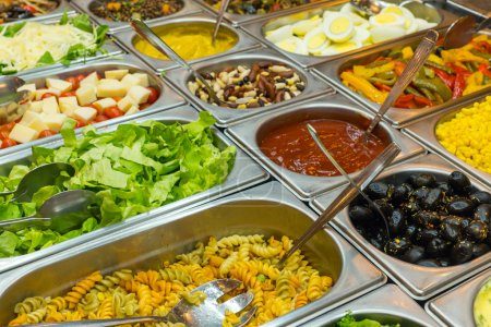 A colourful salad buffet in a restaurant...