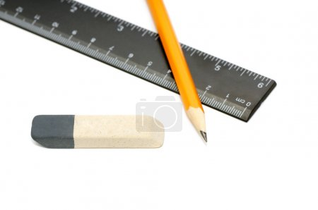 Photo for Pencils, eraser and ruler isolated on a white background - Royalty Free Image