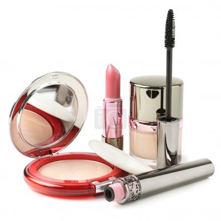 Powder, lipstick, mascara, face cream