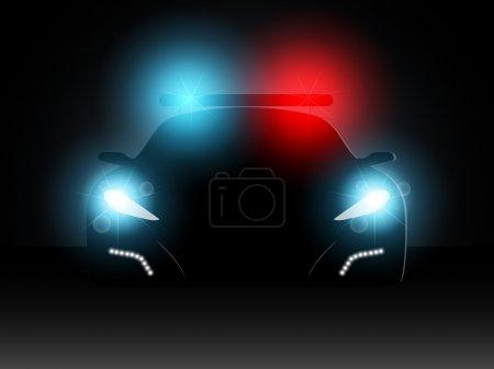 Illustration pour Voiture de police dans le noir avec les phares inclus - image libre de droit