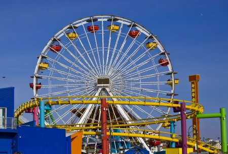 Attraction is the wheel of review on background blue sky