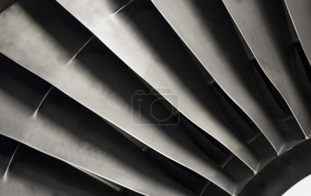 Close-up of a turbofan jet engine