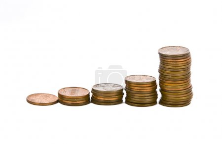 Full set of american coins stacked increasing