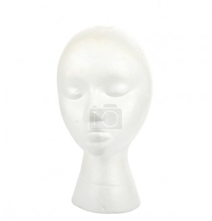 Woman's polystyrene head isolated on white