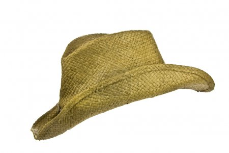 American straw cowboy hat isolated on white