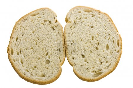 Rye bread slices on the white isolate background