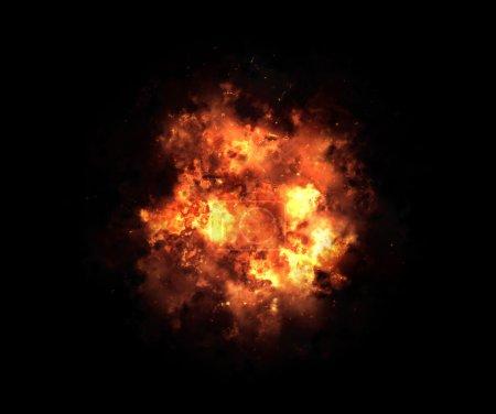 explosion lumineuse flash sur un fond noir. Rafale feu