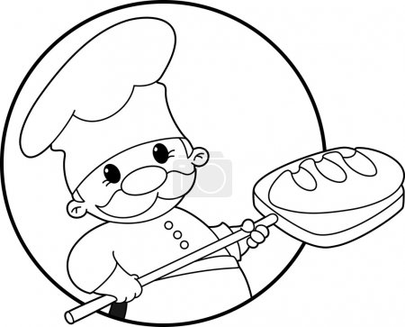 Illustration of a baker with bread banner outlined