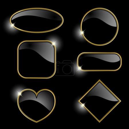 Illustration pour Set à partir de cadres dorés sur fond noir Ce fichier contient de la transparence.EPS10 - image libre de droit