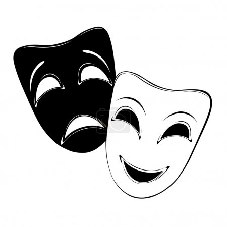 Theatrical mask on a white background....