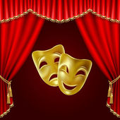 Theatrical mask on a red background Mesh Clipping Mask