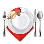 Plate with spoon knife and fork