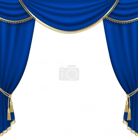 Illustration for Theater stage  with blue curtain. Mesh. - Royalty Free Image