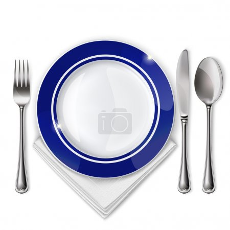 Empty plate with spoon, knife and fork on a white ...