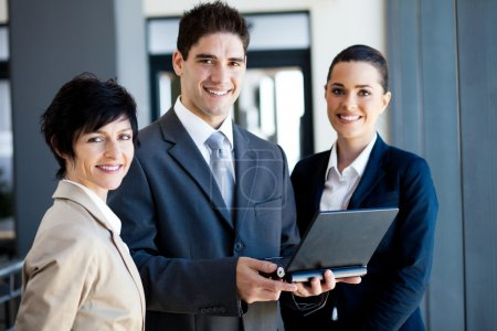 Group of businessman and businesswoman portrait with laptop