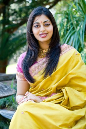 Photo for Young indian woman portrait in traditional clothing sari - Royalty Free Image