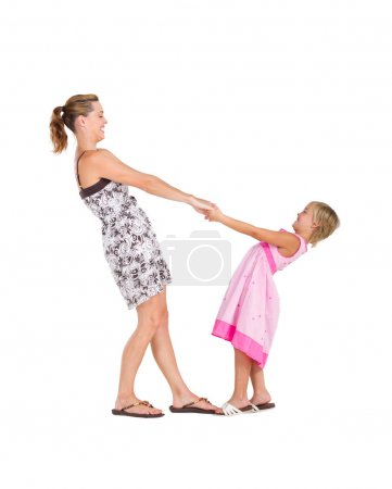 Photo for Happy mother and daughter dance on white background - Royalty Free Image