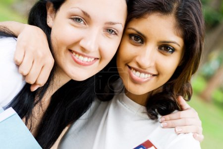Two female college students closeup portrait