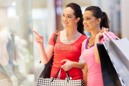 Photo for Two young women shopping in mall - Royalty Free Image