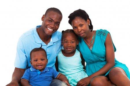 Joyful african american family isolated on white
