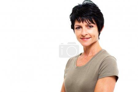 Photo pour Mignonne femme d'âge moyen isolé sur fond blanc - image libre de droit