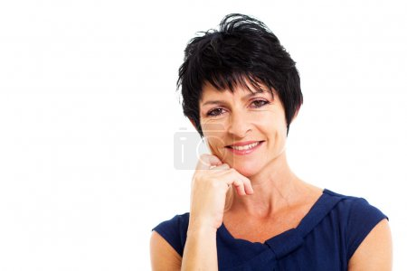 Beautiful middle aged woman closeup portrait