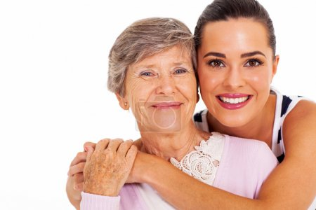 Photo for Happy senior mother and adult daughter closeup portrait on white - Royalty Free Image