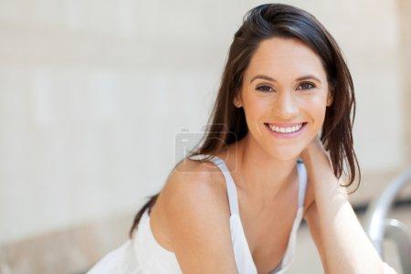 Happy attractive young woman closeup portrait