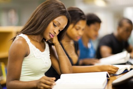 group of african american college students studying together