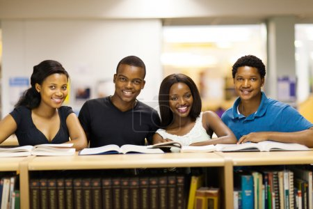 group of african university students in library
