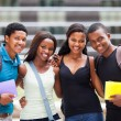Group of happy african college friends...