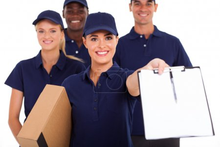 group of professional courier service staff with parcel and signing form