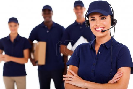 Photo for Professional courier service despatcher and staff - Royalty Free Image