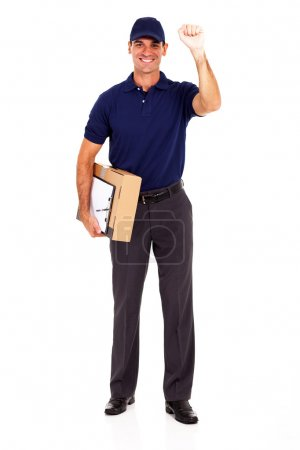 young delivery guy with parcel and knocking