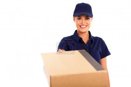 Courier service woman delivering a parcel