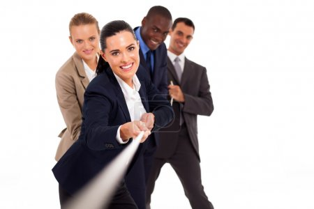 Group of business playing tug-of-war