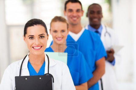 Photo for Group of healthcare workers line up - Royalty Free Image