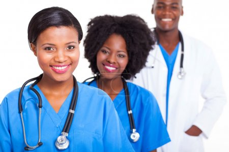 Photo for Group of young african medical workers on white background - Royalty Free Image