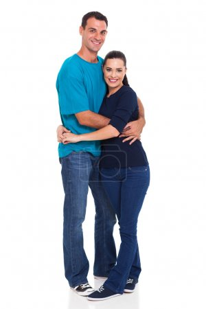 Photo for Full length portrait of happy couple isolated on white background - Royalty Free Image